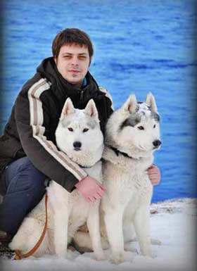 Stefan with the dogs