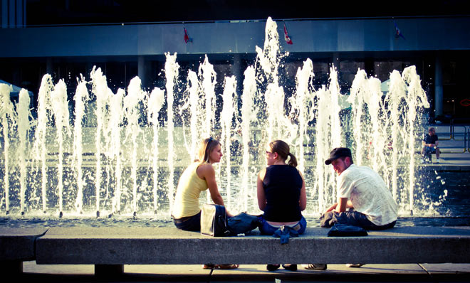conversation near the fountain